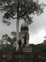 stone lion in angkor thom Siem reap, South East Asia, Cambodia, Asia