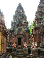 banteay srei monkeys Siem Reap, South East Asia, Cambodia, Asia