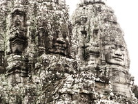faces of buddha and jayavarman Siem reap, South East Asia, Cambodia, Asia