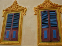 view--windows of new temple near lolei Phnom Penh, Siem Reap, South East Asia, Cambodia, Asia