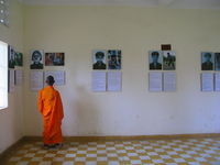 monks on the second floor Phnom Penh, South East Asia, Vietnam, Asia