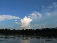 blue sky of laos river Vientiane, Hin Boun Village, South East Asia, Laos, Asia