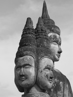 view--three headed buddha Vientiane, South East Asia, Laos, Asia