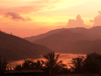 view--laos sunset Pakbeng, South East Asia, Laos, Asia