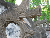 stone dragon heads Luang Prabang, Vientiane, South East Asia, Laos, Asia