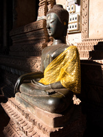 buddha in yellow silk Luang Prabang, Vientiane, South East Asia, Laos, Asia