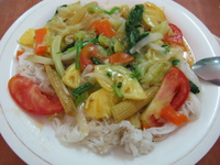food--fried veggie noodle at cafe 252 Halong Bay City, Ha Noi, South East Asia, Vietnam, Asia