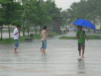 football in rain Hue, Hoi An, South East Asia, Vietnam, Asia