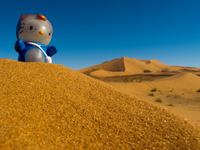 view--hello kitty in erg chebbi Merzouga, Sahara, Morocco, Africa