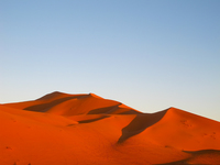 view--red desert in sunset Merzouga, Sahara, Morocco, Africa