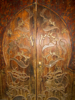 wood carved doors in musee si said Marrakech, Imperial City, Morocco, Africa
