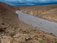 view--snow river in summer land Ait Arbi, Dades Valley, Morocco, Africa