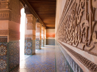 view--medersa ben youssef wall writing Marrakech, Interior, Morocco, Africa