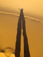 view--tall shadow in desert Merzouga, Sahara, Morocco, Africa
