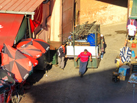 view--pulling cart Marrakech, Interior, Morocco, Africa