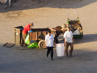 view--cleaning garbage Marrakech, Interior, Morocco, Africa