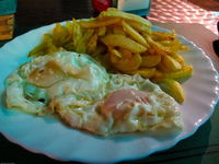 food--eggs and fries El Rocio, Seville, Andalucia, Spain, Europe