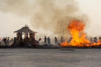 Temple burn at sunet or 8 Black Rock City,  Neveda,  USA, North America