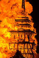 burning of the tower Black Rock City,  Nevada,  United States, North America