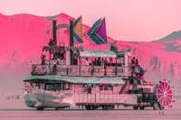 pink sunset Black Rock City,  Nevada,  United States, North America
